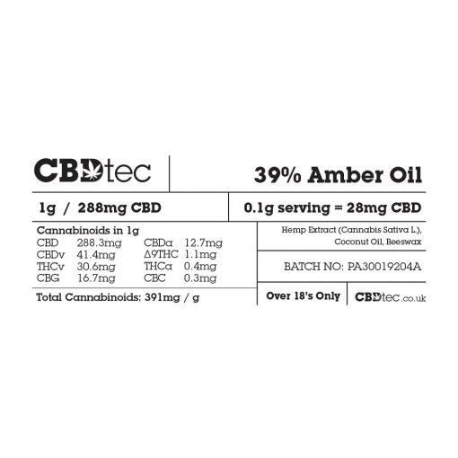 amber oil label