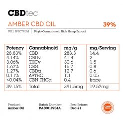 amber cbd oil 39% phyto-cannabinoid rich hemp extract